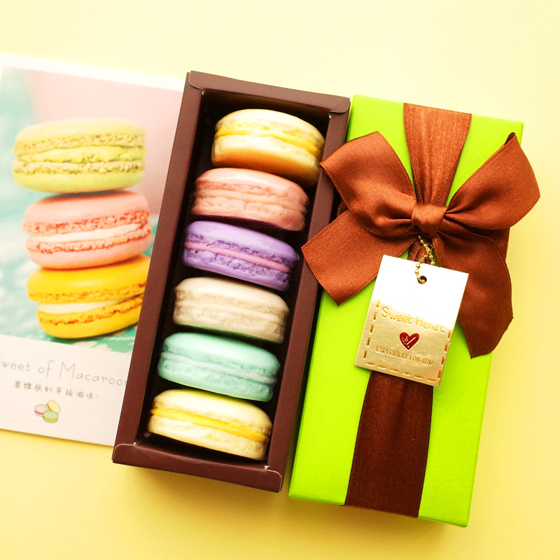 100-Handmade-France-Macarons-Coconut-Oil-Soap-Decorative-Christmas-Gift-Box-6-pieces-lot-Savon-Coffret