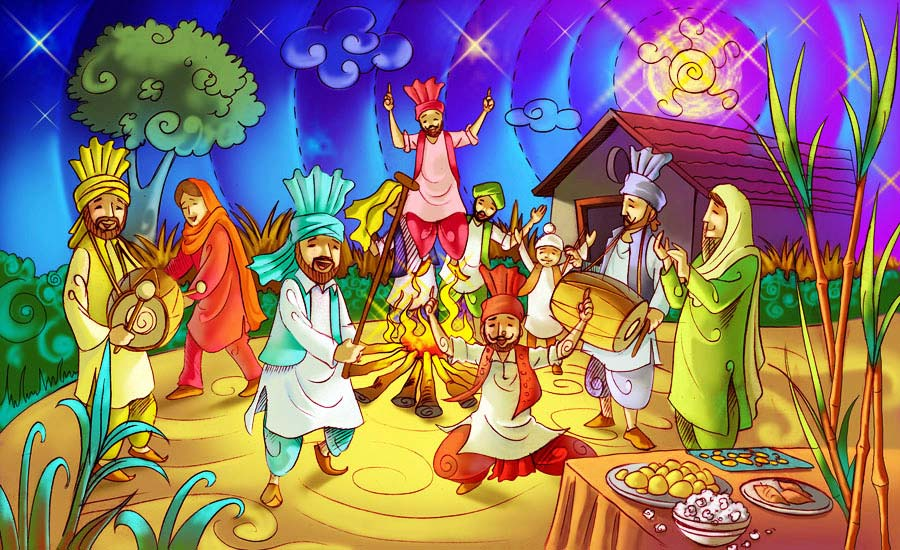 People celebrating Lohri festival